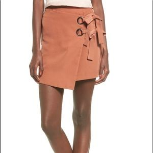 JOA orange/pink wrap tie skirt